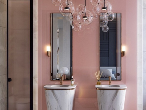 """Дизайн интерьера ванной в Тольятти """"Розовые стильные ванные комнаты"""""""